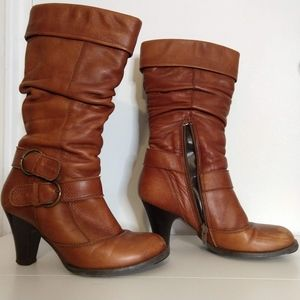 Brown Leather Heel Calf Boots with Lower Zipper